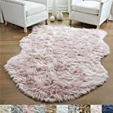 Gorilla Grip Original Premium Faux Sheepskin Fur Area Rug, 3x5, Softest, Luxurious Shag Carpet Rugs for Bedroom, Living Room, Luxury Bed Side Plush Carpets, Sheepskin, Dusty Rose