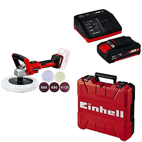 Einhell 2093320 Lucidatrice/levigatrice a Batteria, Rosso, Nero + Power-X-Change Starter Kit(Batteria e Caricabatteria) + Valigetta Universale