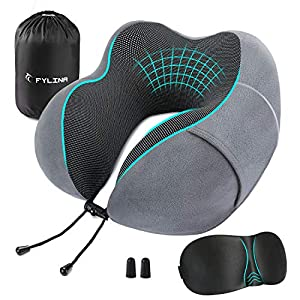 Unrivalled comfortable travelling kit: FYLINA Superior airplane travel kit includes everything you need to have a comfortable International traveling. Our memory form pillow provides perfect amount support for neck and head, No tilting. It also inclu...
