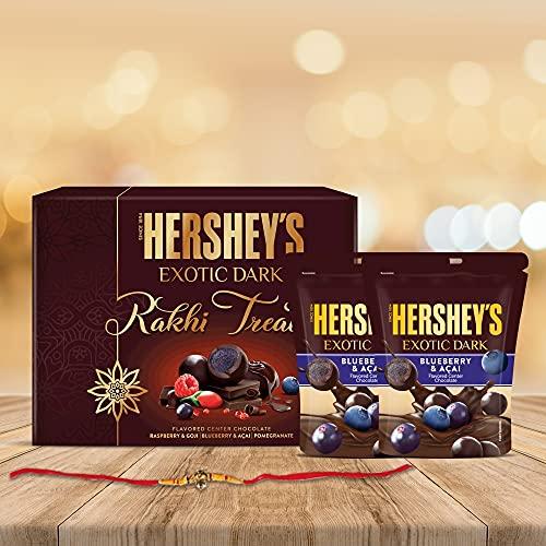 Hershey's Exotic Dark Rakhi Chocolate Gift Pack -Bluerry & Acai Variant|with Rakhi |1 Gift Hamper (2*100 gm Pack) + Rakhi