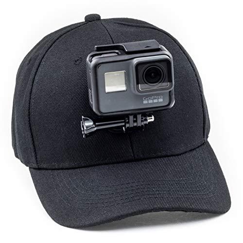 Digicharge Cappellino da Baseball con Supporto per Action Camera Compatibile con GoPro Hero Akaso Crosstour Campark Fitfort Garmin VIRB Apeman Sony Camkong Motorola Victure Kitvision Nikon Nero