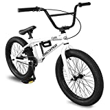 Micargi MBX Cape Sidewalk BMX Bike for-Kids, Children and Beginner-Level to Advanced Riders, 20-inch Wheels, Hi-Ten Steel Frame, Micro Drive 25x9T BMX Gearing (White)
