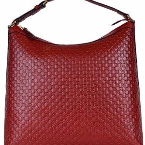 Gucci Women's Micro GG Guccissima Leather Purse Hobo Handbag (449732/Red) 38