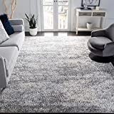 SAFAVIEH Berber Shag Collection BER219G Modern Abstract Non-Shedding Living Room Bedroom Dining Room Entryway Plush 1.2-inch Thick Area Rug, 8' x 10', Grey / Cream