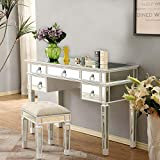 Binrrio Mirrored Console Table, Silver Glass Mirrored Makeup Vanity Table Desk for Women, Writing Desk Media Console Table for Home Living Room Bedroom Office Smooth Finish (Sliver-5 Drawers)