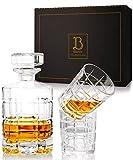 Bigusto Whisky Karaffe Set - Hochwertiger Whiskey Dekanter und 2 Gläser - Schön verzierter Glasverschluss - Ein Geschenk für Genießer