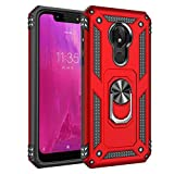 CasemartUSA Phone Case for [T-Mobile REVVLRY (5.7 inch)], [Ring Series][Red] Full Rotating Metal Ring Shockproof Defender Cover with Built-in Kickstand for T-Mobile REVVLRY (5.7 inch, 2019)