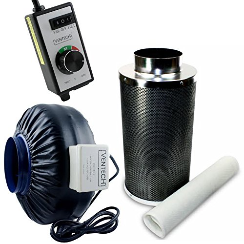 VenTech 440 CFM 6' inch Inline Exhaust Blower Fan with Carbon Filter and Variable Speed Controller