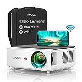 Proyector WiFi Bluetooth 1080P, YABER V6 7500 Proyector WiFi Full HD 1080P Nativo Soporta 4K [Mochila incluida], Ajuste Digital de 4 Puntos Función de Zoom, Proyector Portátil para Cine en Casa y PPT