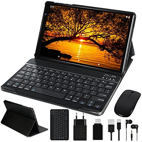 Tablet 10 Pollici FACETEL Q3 Android 10.0 Tablet con 4GB RAM 64GB ROM Espanso 128GB, Tablets PC con Tastiera e Mouse, 5.0+8.0 MP Telecamera, Certificato Google GMS, Solo wifi, Bluetooth, FM - Nero
