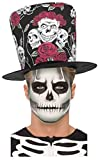 Day Of The Dead Sugar Skull Rose Black Red Top Hat + Glow In Dark Skeleton Make Up Set