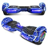 LONGTIME 6.5' Spider Web Series Bluetooth Hoverboard Self Balancing Scooter with LED Lights Flashing Wheels (Spider Blue)