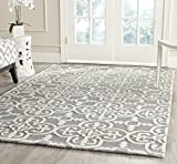 Safavieh Cambridge Collection CAM133D Handmade Moroccan Wool Area Rug, 9' x 12', Silver/Ivory