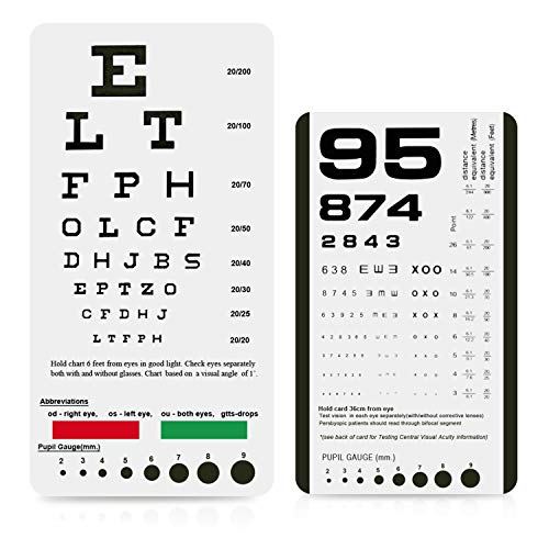 PECULA Eye Chart, Pocket Eye Chart, Snellen Pocket Eye Chart, Rosenbaum Pocket Eye Chart (2 Pack)