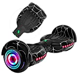 Rawrr Hoverboard Self Balancing Electric Scooter with LED Wheel Lights and Bluetooth Speakers for Kids and Adults, UL2272 Certified, Unique Pattern (Spider Black)