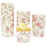 50-Pack Muffin Liners - Vintage Floral Cupcake Wrappers Paper Baking Cups
