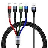 Câble Multi USB,4 en 1 Multi Chargeur Câble Nylon Tressé avec Micro USB...