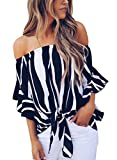 Asvivid Womens Striped Off The Shoulder Flare Sleeve T-Shirt Tie Knot Blouses and Tops Small Black