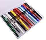 12 PCS Jinhao Disposible Fountain Pen Fine Nib Transparent Diversity Color Pen Case Set Swan Cap with Refillable Converters