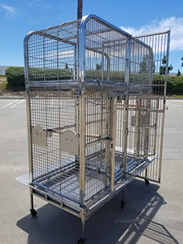 Bird | #304 Stainless Steel Indoor/Outdoor Bird Parrot Macaw Breeder Double Cage, Gym exercise ab workouts - shap2.com