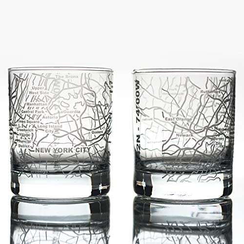 Greenline Goods Whiskey Glasses - 10 Oz Tumbler Gift Set for New York City lovers, Etched with New York City Map | Old Fashioned Rocks Glass - Set of 2