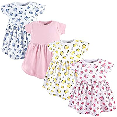 Set of 4 cotton dresses Super soft cotton fabric Wear for play or dress up with leggings and a cardigan in cooler months Perfect for spring, summer or fall Fun prints