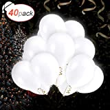 AGPTEK 40 PCS Ballons LED Blanc Ballons Lumineux 3 Mode d'Eclairage,...