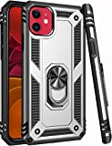 iPhone 11 Case,15ft Drop Tested,LUMARKE Military Grade Shockproof Rugged Armor Dual Layer Plastic TPU Cover with Metal Kickstand Protective Phone Case for iPhone 11 6.1 inch 2019 Silver