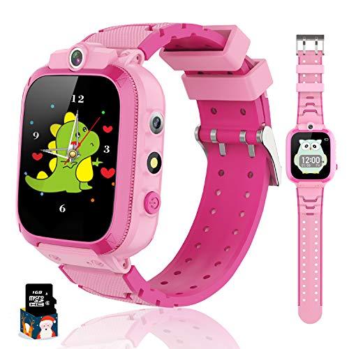 Bambini Smart Watch 14 Giochi Musica Pedometro Doppia Fotocamera Sveglia Torcia Orologio per bambini Ragazzi e Ragazze Touch screen Orologio per bambini 3-12 anni Regalo di compleanno (Rosa)