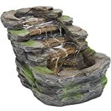 Sunnydaze Shale Falls Outdoor Fountain with LED Lights - Rustic Exterior Standing Water Feature - Corded Electric - Ideal for Patio, Balcony, Garden, Front Porch or Landscaping - 13-Inch