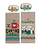 18th Street Gifts Happy Camper Dish Towels and Salt Pepper Set, 4 Piece Set of Camping Decor for RV