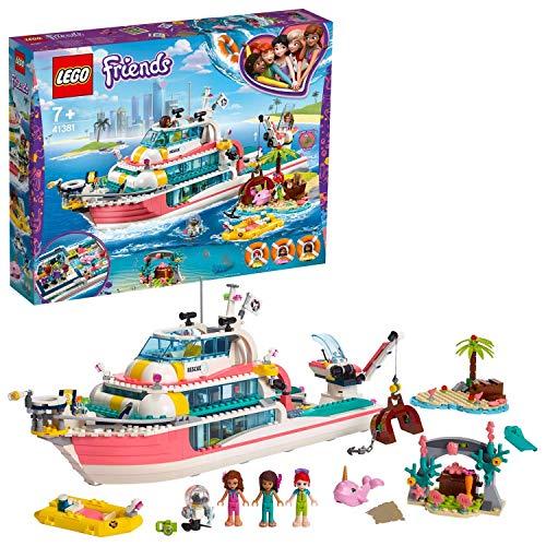 LEGO- Friends Il Motoscafo di Salvataggio Inclus 3 Mini Poupées Set di Costruzioni con 3 Minidoll: Olivia, Andrea e Miaricco, Ricco di Dettagli, per Bambine +7 Anni, Multicolore, 41831