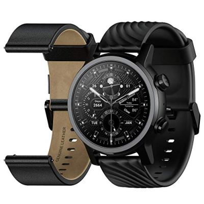 Moto 360 3rd Gen 2020 - Wear OS by Google - The Luxury Stainless Steel Smartwatch with Included Genuine Leather and High-Impact Sports Bands - Phantom Black