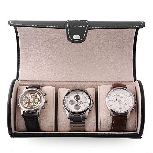 Uhrenbox Leder für 3 Uhren Uhrenkoffer Uhrenkasten Schwarz Uhren Schatulle Armbanduhr Box