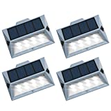 Roopure【Newest Version 8 LED】Solar Stair Step Lights Outdoor Decorative Solar Deck Lights Wireless Waterproof Lighting for Garden Wall Paths Patio Decks Auto On/Off 4 Pack