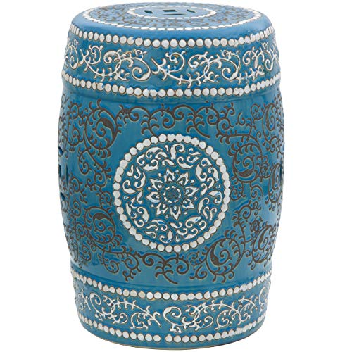"Oriental Furniture 18"" Blue Medallion Porcelain Garden Stool"