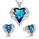 CDE Mom Jewelry Set Blue Crystals from Austrian Crystals Sets for Women Wedding Anniversary Birthday Mother's Day Jewelry Gifts for Mom Women Wife Daughter