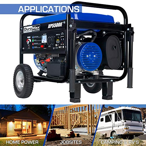 DuroMax XP5500E Gas Powered Portable Generator - 5500 Watt - Electric Start - Camping & RV Ready, 50 State Approved