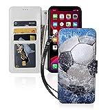 スポーツサッカー水 Iphone11スマホケース 手帳型 レザー 財布型 ワイヤレス充電可能 マグネッ……