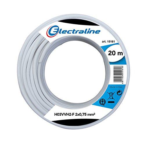 Electraline 10904 Piattina Indivisibile H03VVH2-F, Sezione 2x0.75 mm, 20 mt, Bianco
