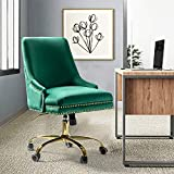 Bella Velvet Fabric Task Chair with Gold Base and Nailhead for Home Office - Green