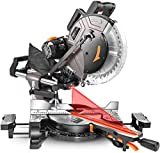 TACKLIFE Sliding Miter Saw, 12inch 15Amp Double-Bevel Sliding Compound Miter Saw with Laser, Crosscutting Miter Saw, 3800rpm, Adjustable Cutting Angle, Extensible Table, 10ft Cable, 40T Blade - PMS03A
