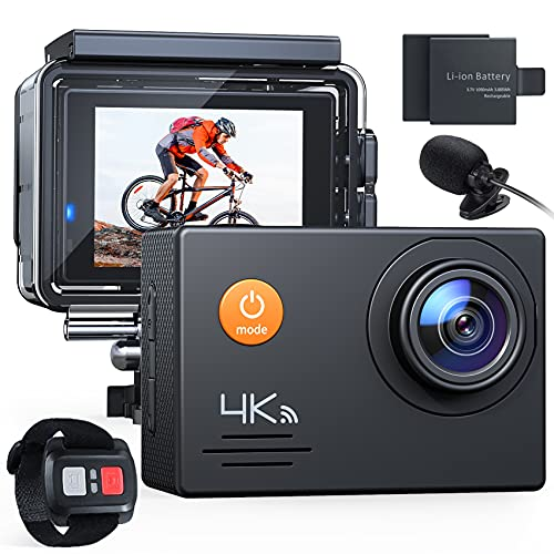 Action Cam A79, 4K 16MP WiFi Impermeabile 40M con Telecomando e Microfono Esterno Fotocamera Subacquea Digitale, Anti-Shaking Stabilizzazione Videocamera, Time Lapse Slow Motion