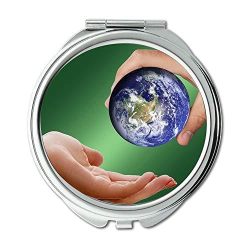 Specchio, specchio per il trucco rotondo terra, World Earth Globe Keep Give Take Pass Specchi per il...