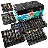 ARTEZA Watercolor Paint, Set of 60 Colors/Tubes (12 ml/0.4 US fl oz) with Storage Box, Rich Pigments, Vibrant, Non Toxic Paints for The Artist, Hobby Painters, Ideal for Watercolor Techniques