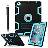 iPad 2 Case,iPad 3 Case,iPad 4 Case, AICase Kickstand Shockproof Heavy Duty Rubber High Impact Resistant Rugged Hybrid Three Layer Armor Protective Case with Stylus for iPad 2/3/4 (Black+Light Blue)