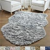 GORILLA GRIP Original Premium Faux Sheepskin Fur Area Rug, 3 FT x 5 FT, Softest, Luxurious Carpet Rugs for Bedroom, Living Room, Luxury Bed Side Plush Carpets, Sheepskin, Gray