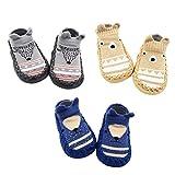 Z-Chen 3 Paire de Chaussons Chaussettes Antidérapantes pour Bébé, Gris + Brun + Bleu foncé, 12-18 Mois