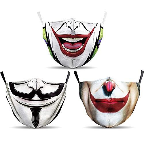 LT Lucky Too, 3 mascherine in cotone colorato con motivo di supereroe, divertenti, simpatiche, per uomini e donne,...