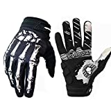 Skeleton Cycling Gloves Motorcycles Gloves Off-road vehicle MTB, Bicycle Gloves Shock absorption Non-slip Touch screen design,for Various outdoor sports.(White1, M)